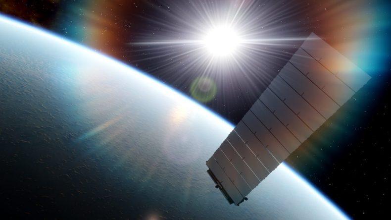 La imagen muestra la parte trasera de un satélite Starlink.  El reingreso de satélites a la atmósfera podría causar problemas a la capa de ozono en el futuro, dicen los expertos
