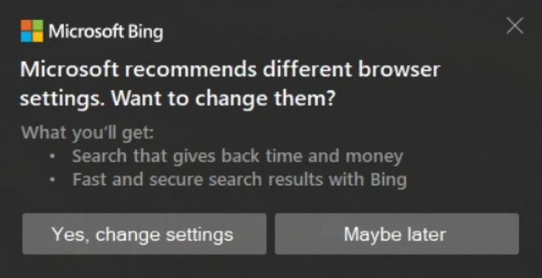 Microsoft trae de vuelta las molestas alertas de Bing a Windows 10