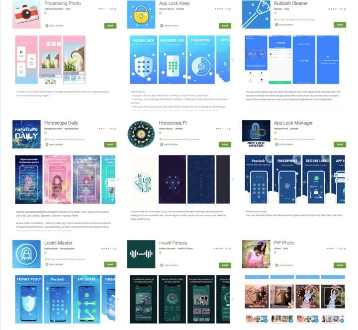 Imagen de aplicaciones de Android que contienen malware que robaron el inicio de sesión de Facebook
