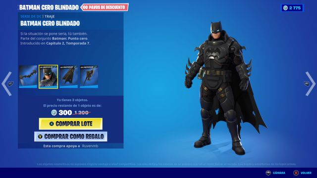 fortnite capítulo 2 temporada 7 skin batman zero blindado dc comics cómo conseguirlo