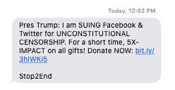 Mensaje de texto solicitando una donación para la demanda de Trump contra empresas tecnológicas