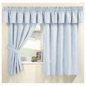 MAISY BLUE GINGHAM CURTAIN SET Pelmet Sold Separte Net Curtain
