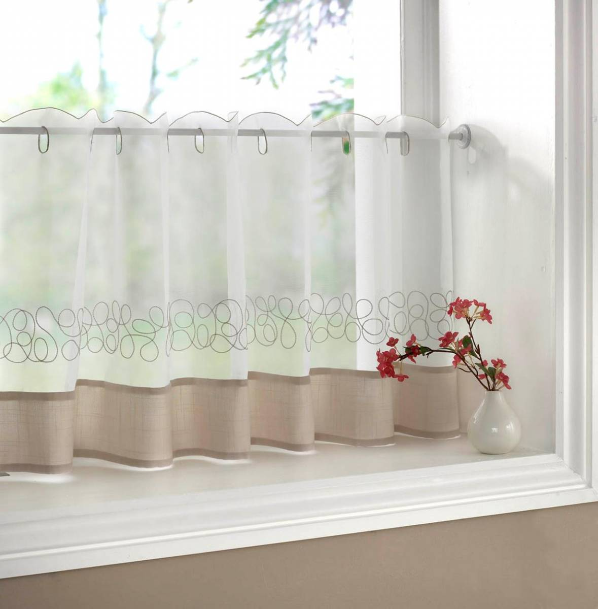 DECO CREAM EMBROIDERED VOILE CAFE CURTAIN EACH CURTAIN