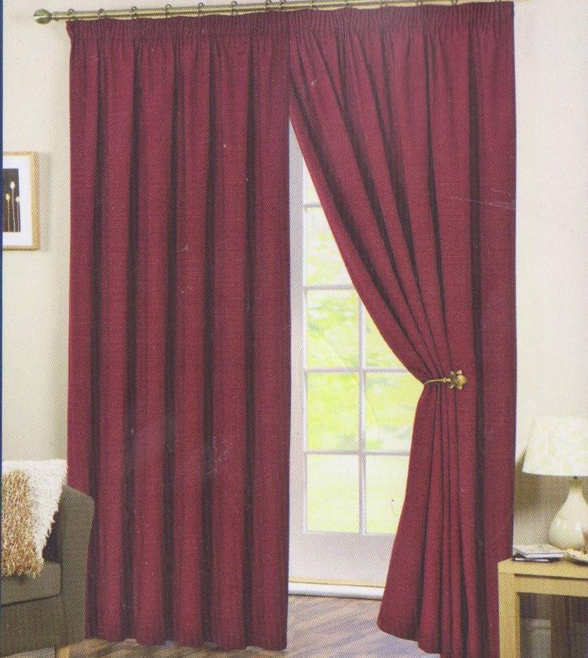 PERTH RED READY MADE CURTAINS Net Curtain 2 Curtains