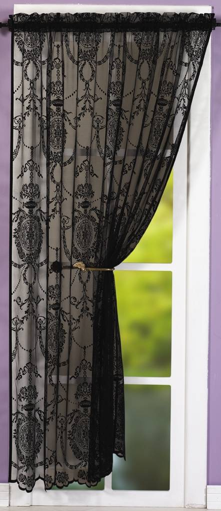 Holly Black Lace Panel Net Curtain 2 Curtains