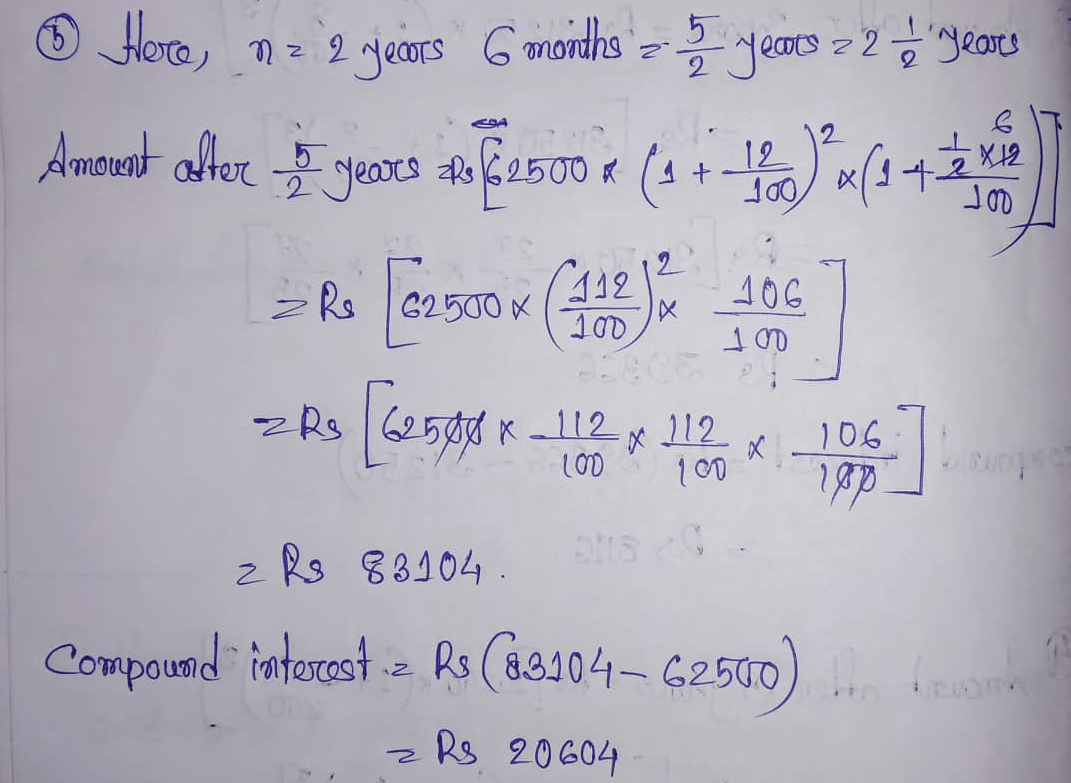 Rs Aggarwal Class 8 Math Eleventh Chapter Compound