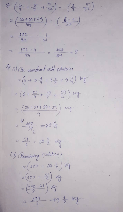 small resolution of Selina Concise Class 7 Math Chapter 3 Fraction (Including Problems)  Exercise 3E Solution