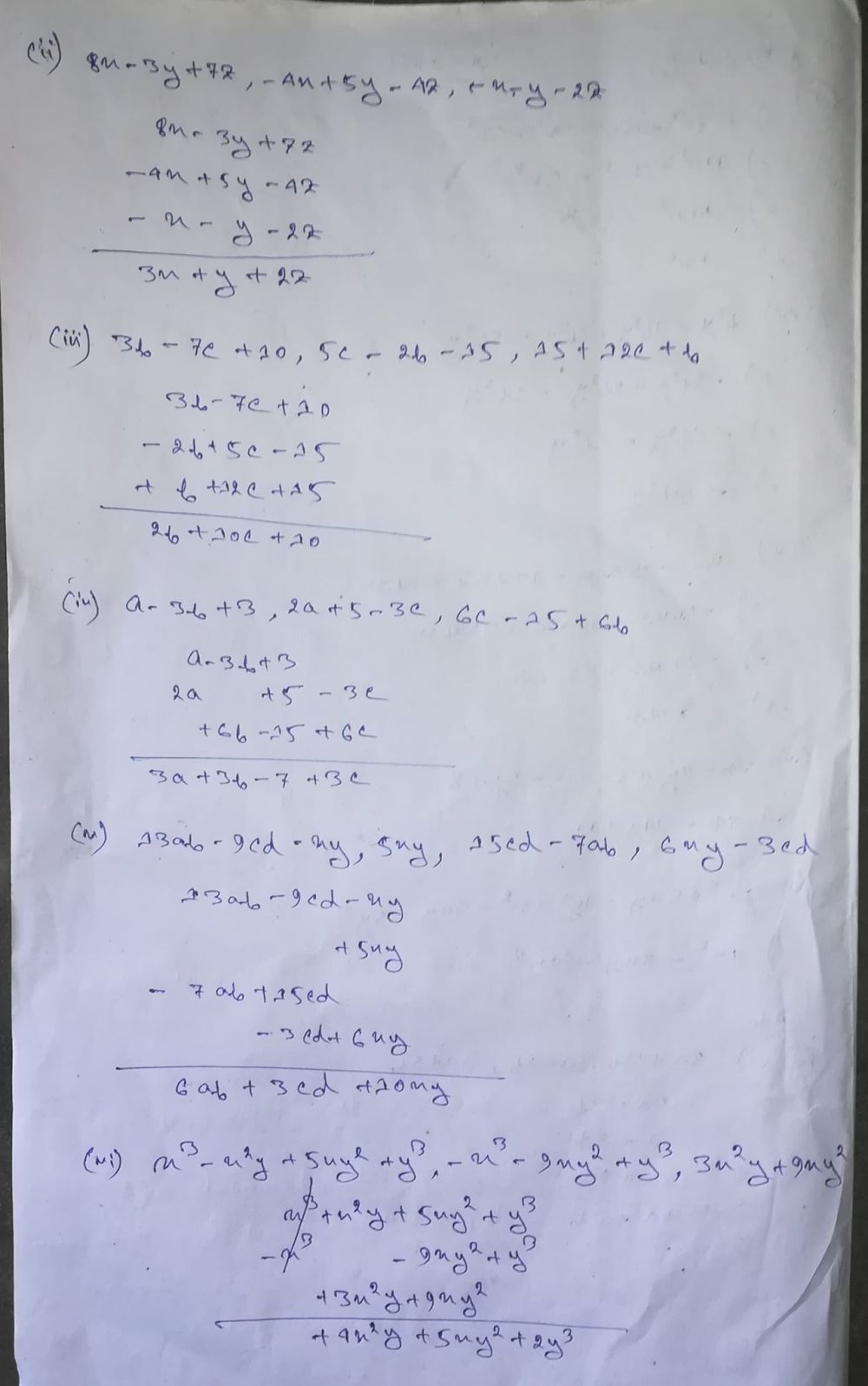 medium resolution of Selina Concise Class 8 Math Chapter 11 Algebraic Expressions Exercise 11B  Solution