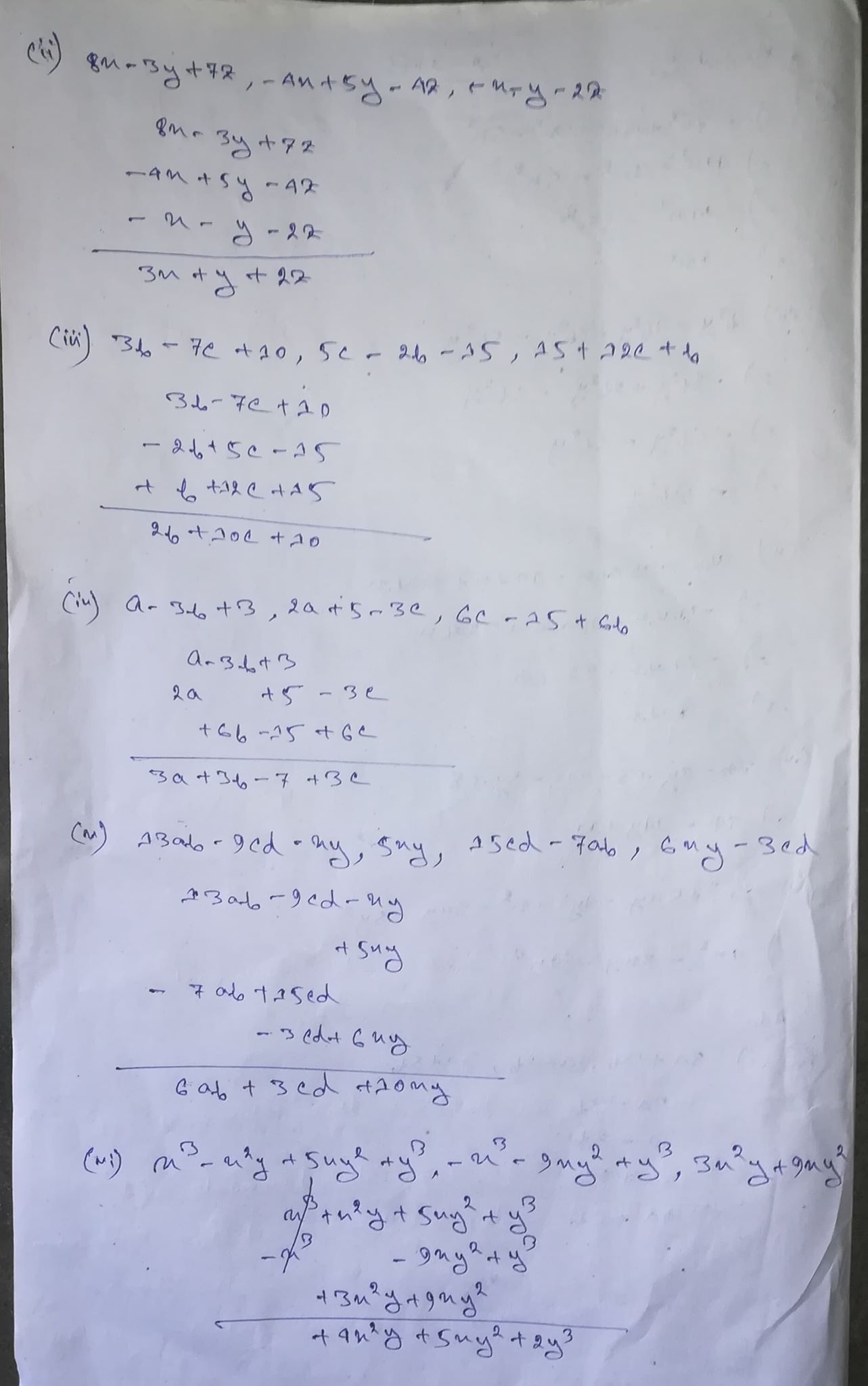 hight resolution of Selina Concise Class 8 Math Chapter 11 Algebraic Expressions Exercise 11B  Solution