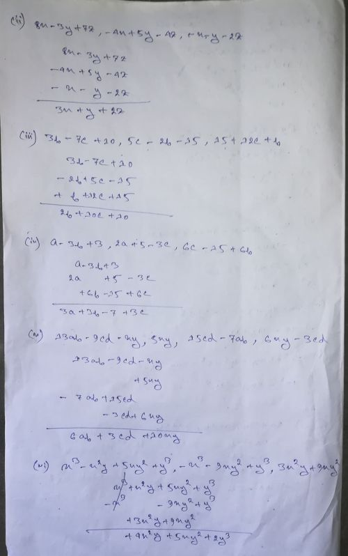 small resolution of Selina Concise Class 8 Math Chapter 11 Algebraic Expressions Exercise 11B  Solution