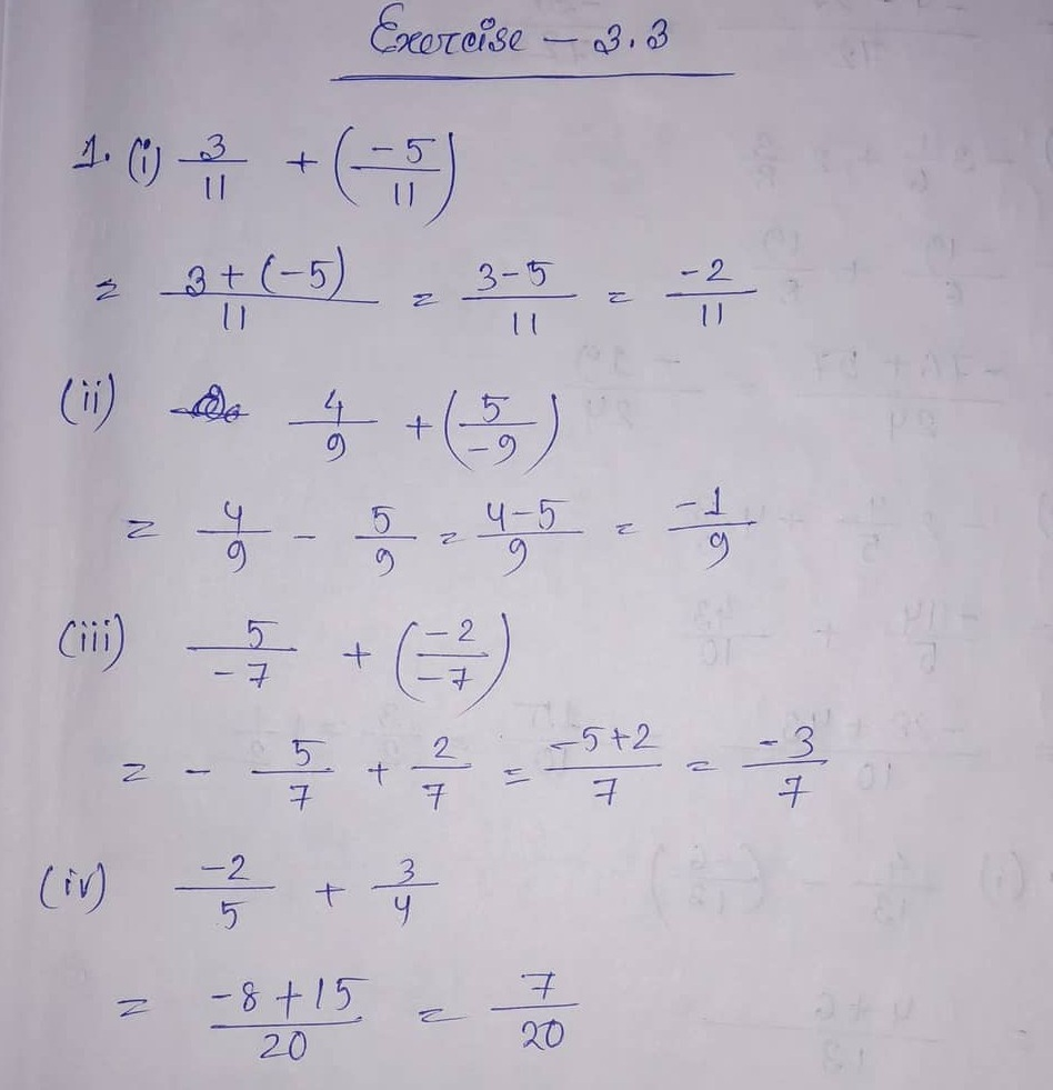 hight resolution of ML Aggarwal CBSE Solutions Class 7 Math Third Chapter Rational Numbers  Exercise 3.3