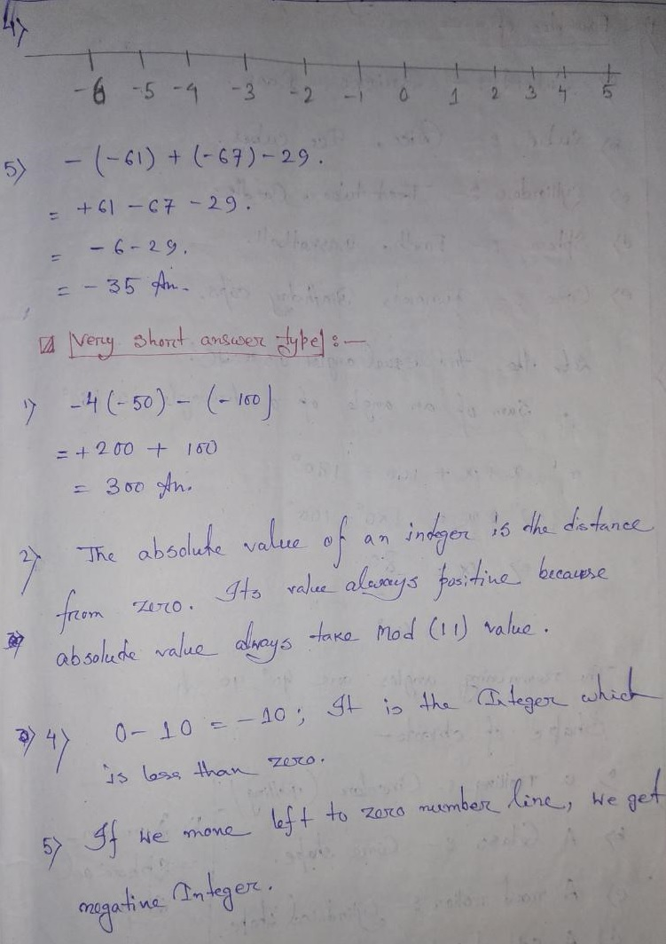 hight resolution of Integers Extra Questions Solution for Class 6 CBSE / NCERT Board Students