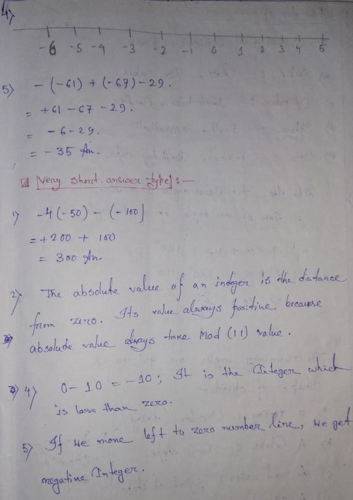 small resolution of Integers Extra Questions Solution for Class 6 CBSE / NCERT Board Students