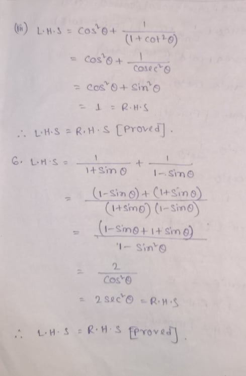 RS Aggarwal Class 10 Math Eighth Chapter Trigonometric