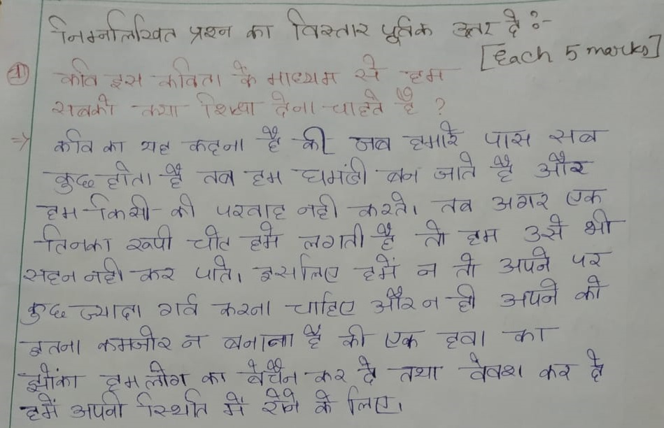 Ek Tinka Extra Questions and Answers Class 7 Hindi Chapter 13
