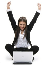 a woman excited about her website