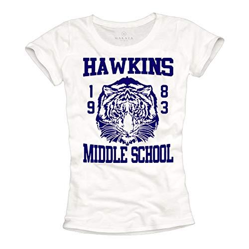 Makaya-Stranger-Things-T-Shirt-Femme-Hawkins-Middle-School-Baseball-Football-Top-0