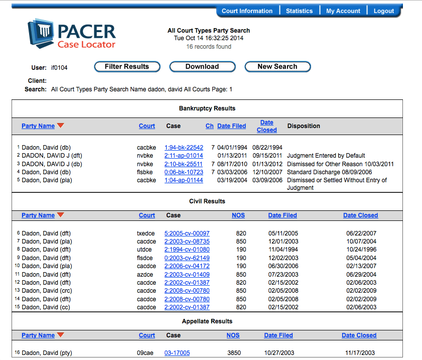 Is PACER Testing New Filters in its Case Locator Search Results  Continuing Legal Education