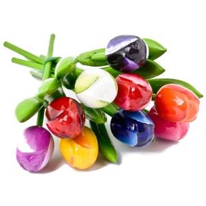 bunch of wooden tulips
