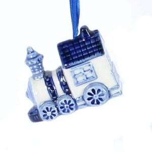 Christmas Ornament, Delft Blue, Train - Woodenshoefactory Marken