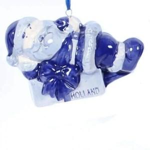 Christmas Ornament, Delft Blue, Santa Claus with Presents - Woodenshoefactory Marken