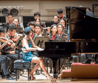 Yuja Wang performing with the National Youth Orchestra of China at Carnegie Hall on July 22, 2017