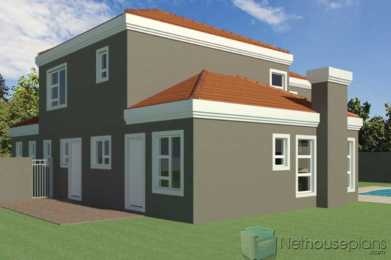 3-Bedroom-house-plans-South-Africa_T252D_Rear-Side-View ...