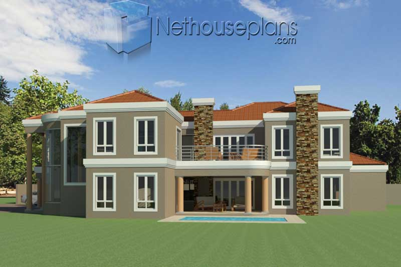 Simple-5-Bedroom-House-Plans-South-Africa_T483D_Pool-View ...