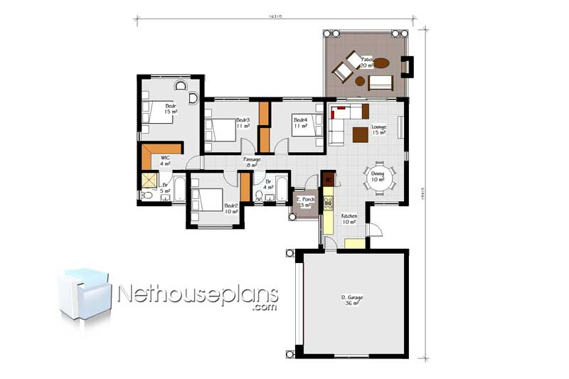 Four Bedroom House Plans Drawing For Sale 189sqm Nethouseplansnethouseplans