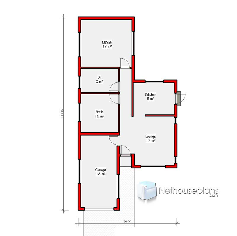Small House Designs 2 Bedroom Small House Plan Nethouseplansnethouseplans