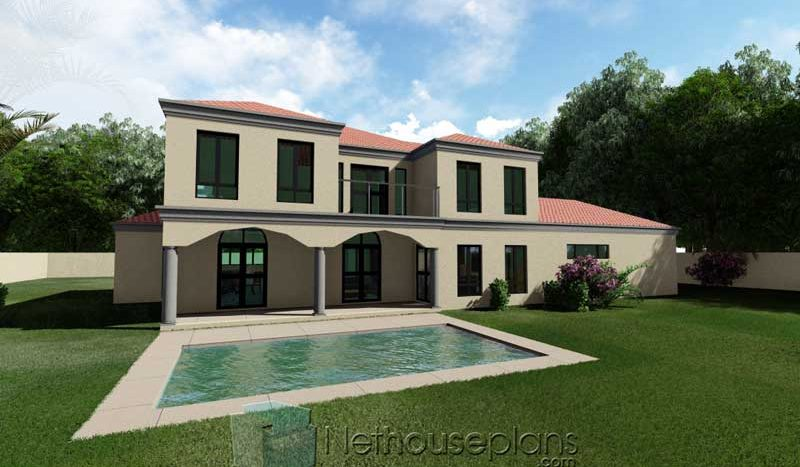 4 bedroom house plans with photos double storey house design Tuscan style South african house plans pool side view Nethouseplans