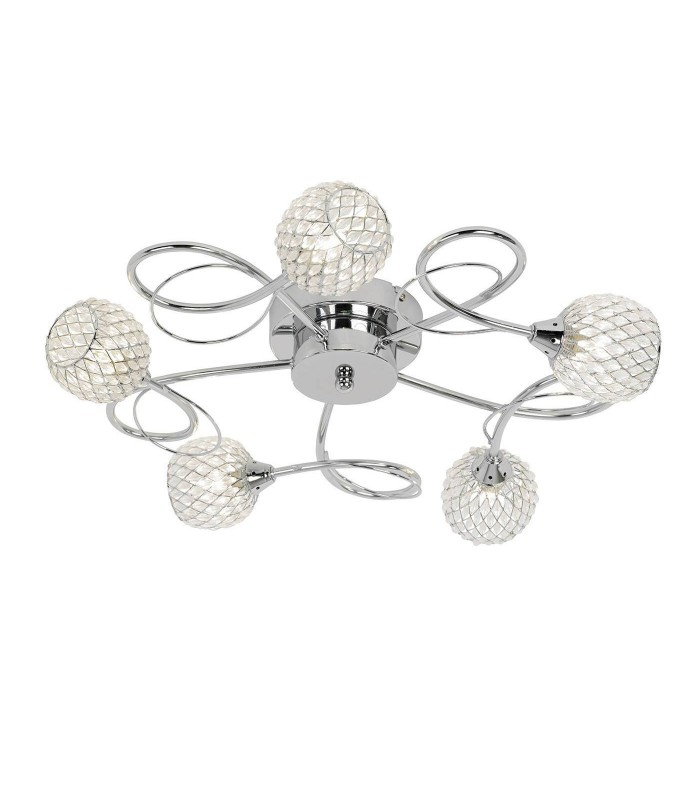 5 Light Semi Flush Ceiling Light Chrome with Wire, Bead Shade