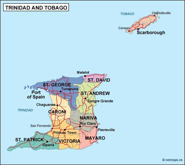 trinidad and tobago political map Eps Illustrator Map A