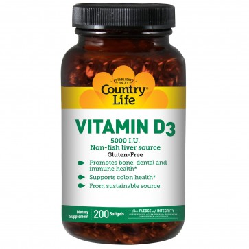 Gluten Free Vitamin D3 5 000 IU 200 Softgels by Country Life
