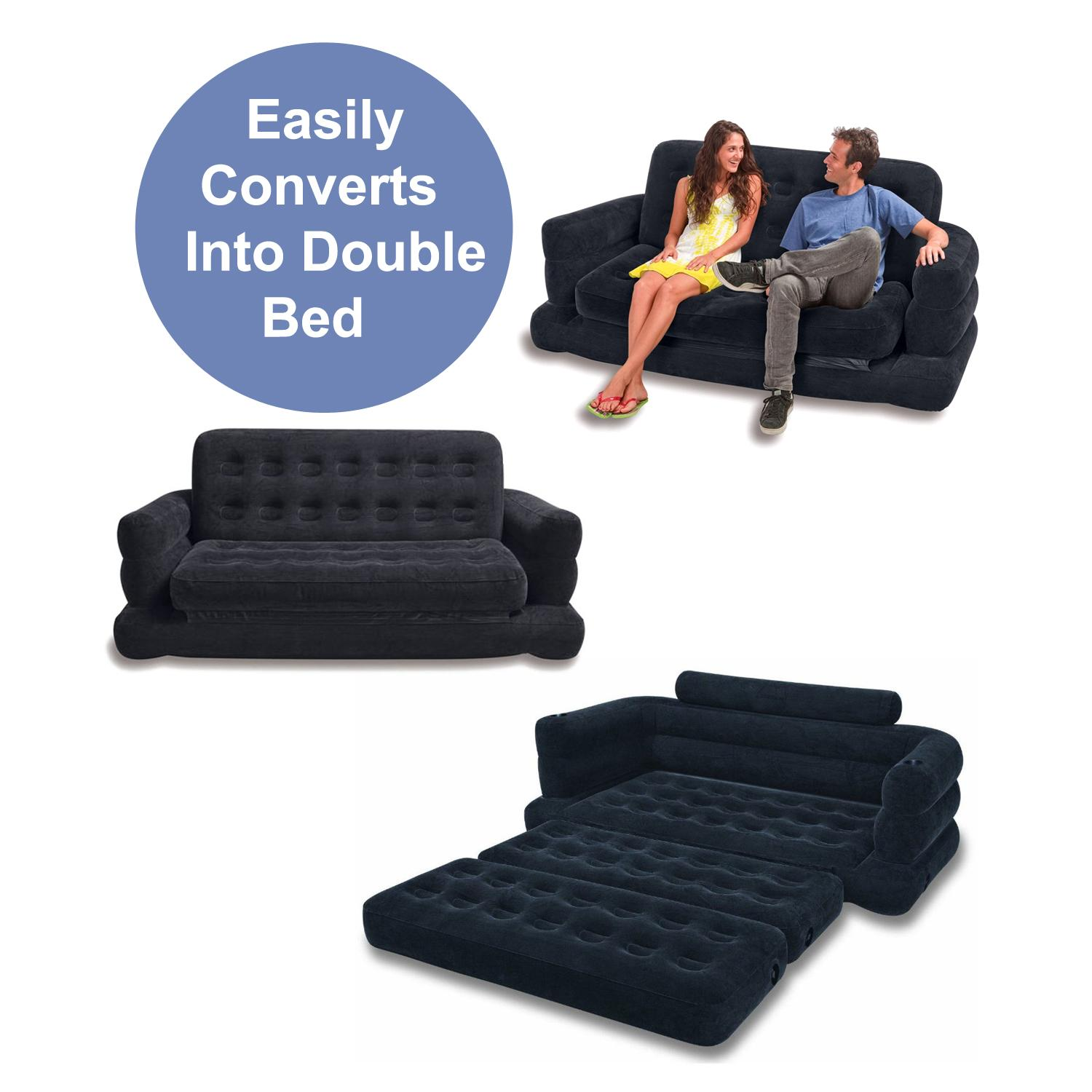 intex sofa inflatable rv sleeper mattress new pull out bed couch settee queen