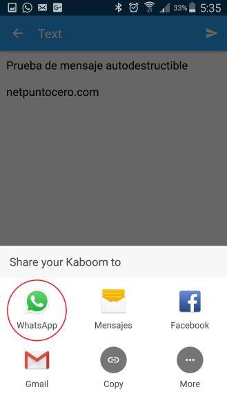 enviar mensaje kaboom whatsapp