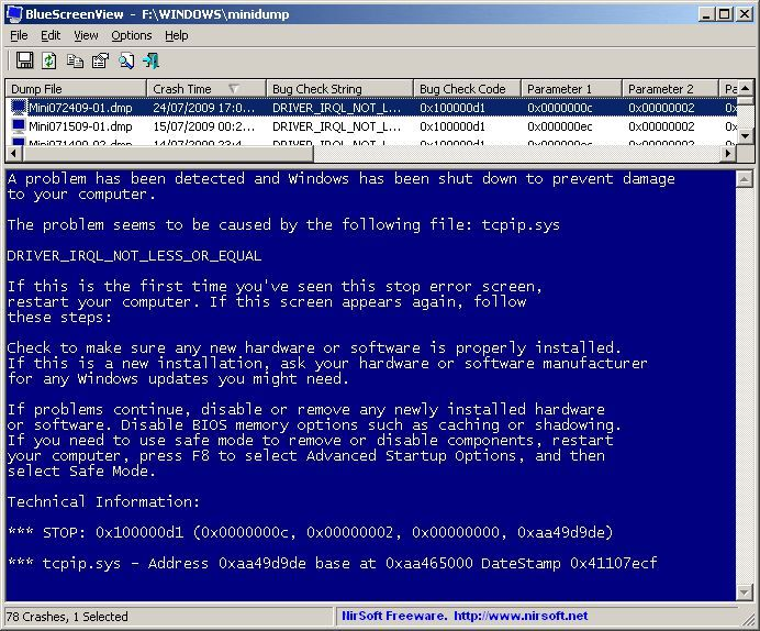 BlueScreenView de Nirsoft