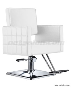 White Faux Leather Salon Chair