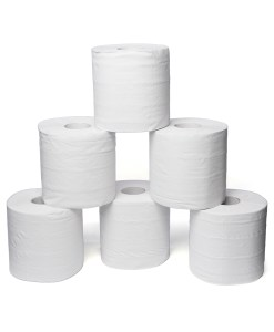 "White embossed centrefeed roll 2ply 7""-pack-of-6"