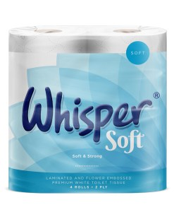 Whisper Soft Texture Toilet Tissue Roll 2ply White