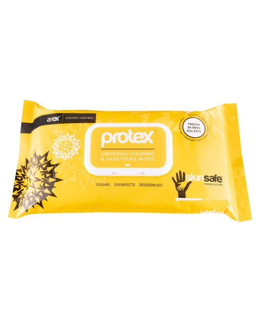 Protex Universal Cleaning & Sanitising 100 Wipes - Proven 99.999% Kill Rate