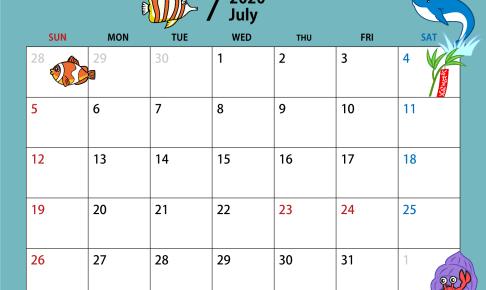 2020年7月のカレンダー