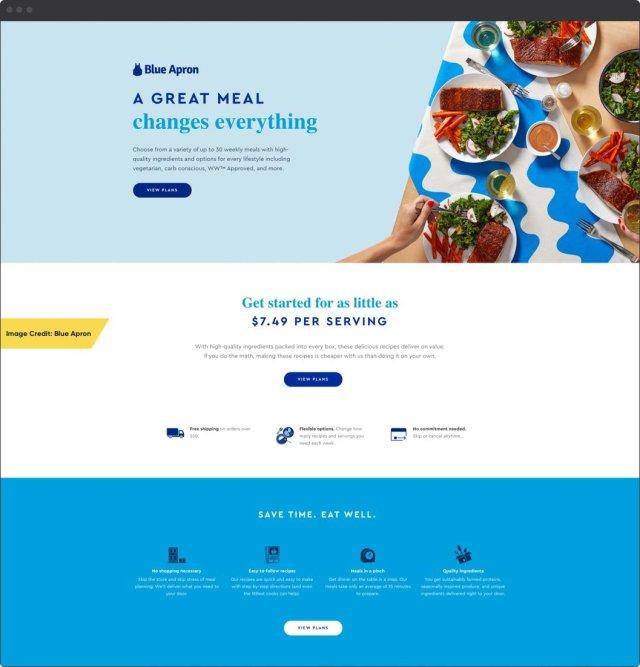 Exemple de tablier bleu    Pages de destination de commerce électronique étonnantes