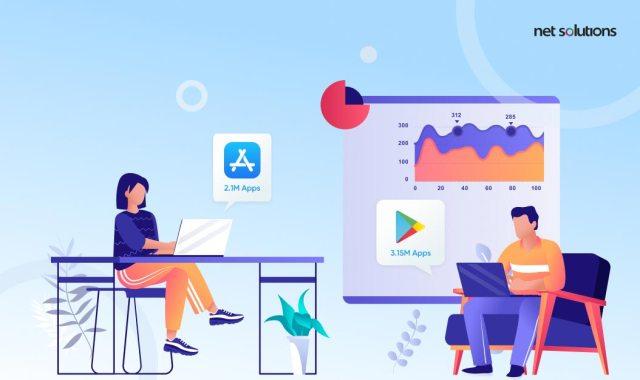 Nombre d'applications dans l'App Store et le Play Store |  Android contre iOS
