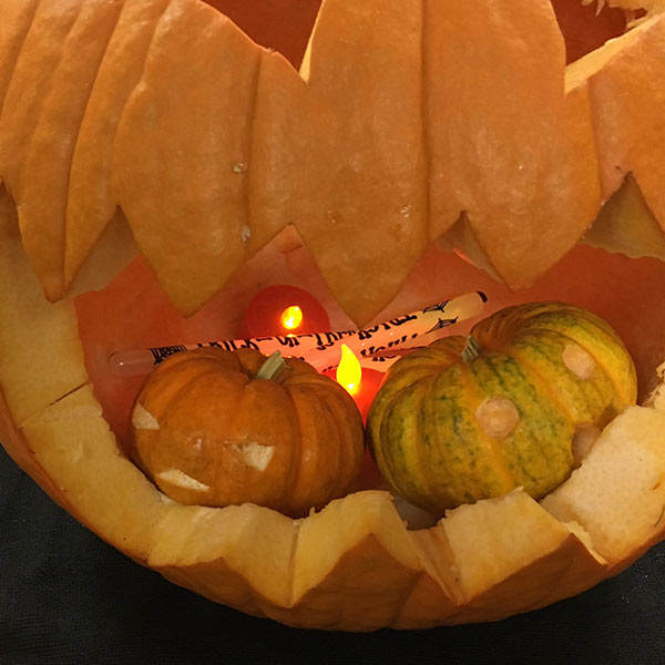We added 2 tea lights and 3 cheap glow sticks to this pumpkin
