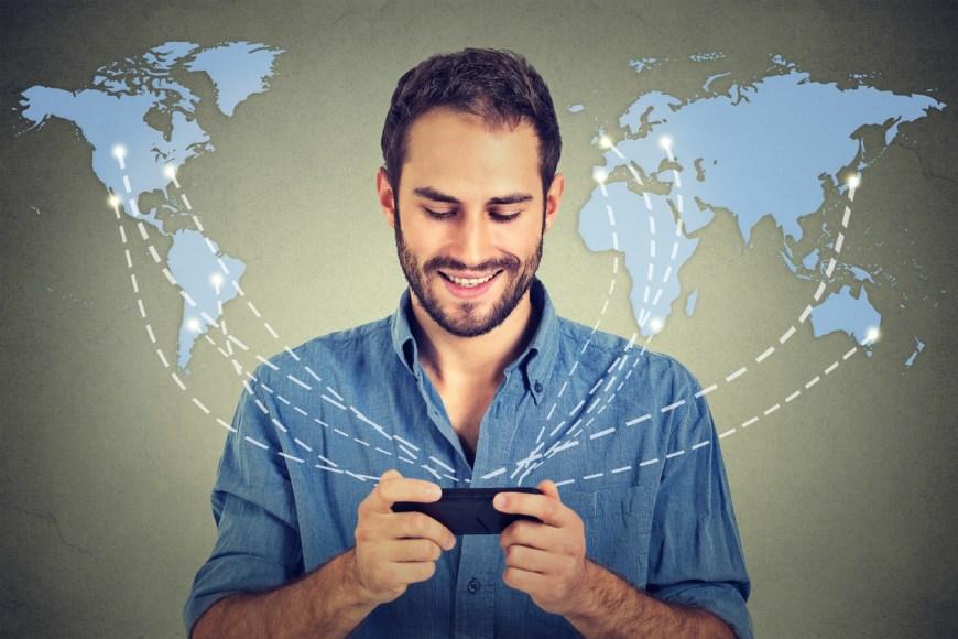 Modern communication technology mobile phone. Man smartphone