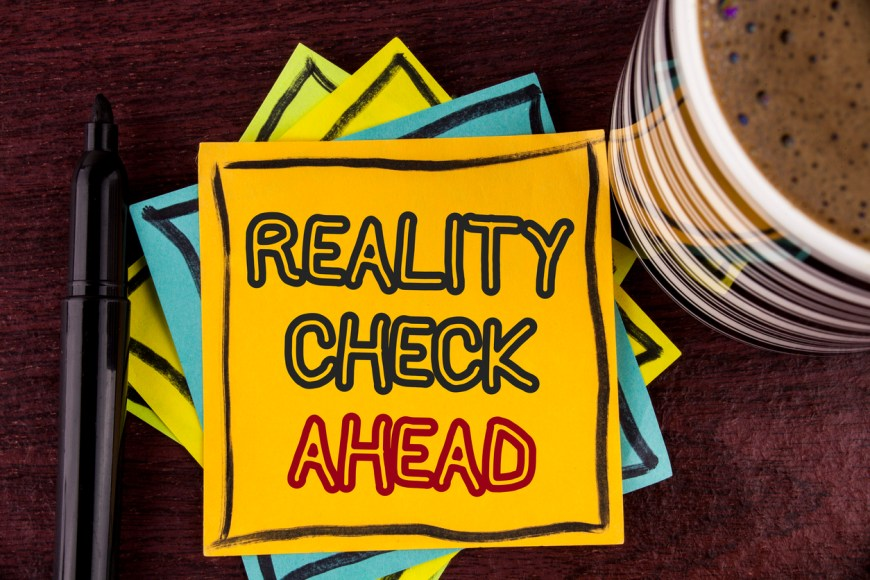 Writing note showing  Reality Check Ahead. Business photo showcasing Unveil truth knowing actuality avoid being sceptical written on Sticky Note paper on Wooden background Coffee Cup and Marke