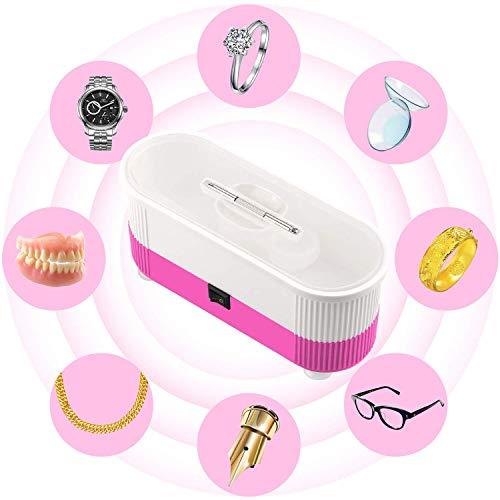 nettoyeur à ultrasons SONGET Mini nettoyeur sans fil à ultrasons pour lunettes Bijoux Lentille autres petites choses (Rose)