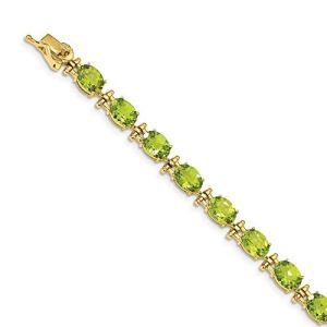 Bracelet péridot 5 mm 14 carats pour femme