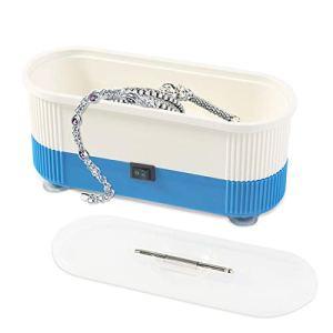 Eurobuy Nettoyeur à ultrasons, Mini nettoyeur de bijoux sans fil à ultrasons pour le nettoyage en machine Lunettes, bagues, colliers, rasoirs, dentiers